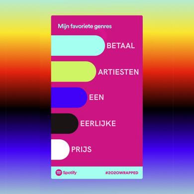 """Parodie op de klassieke Spotify Wrapped plaatjes met de slogan: """"betaal artiesten een eerlijke prijs""""."""