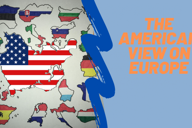 map of Europe with American flag inside and EU countries around